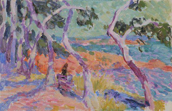 Mediterranean Trees (HG930) Oil on board 11