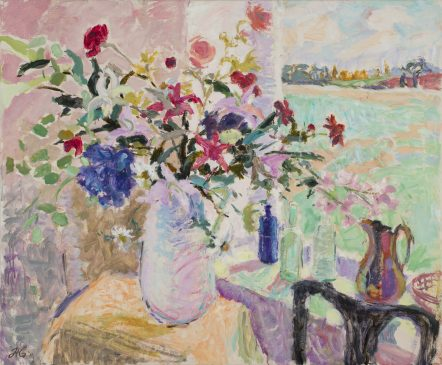 The Vase of Flowers, Late Winter Landscape (HG938) Oil on Canvas 38
