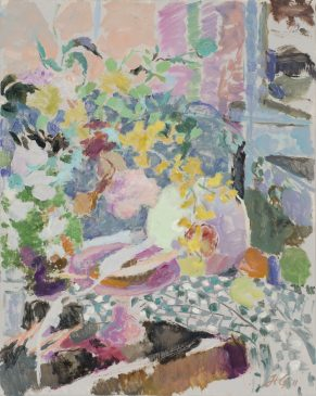 Still Life in Pink, Green and Grey (HG942) Oil on Canvas, 30