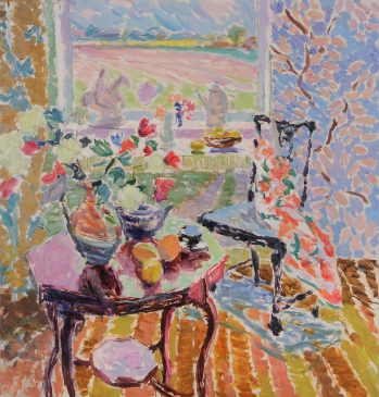 Summertime: Studio Interior with Jug of Flowers (HG978) Oil on Canvas 36