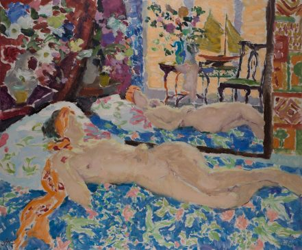 Late Afternoon Light, Interior with Reclining Nude (HG1156) Oil on Canvas 38