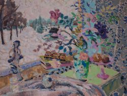 winter oil painting with snow and a still life of flowers