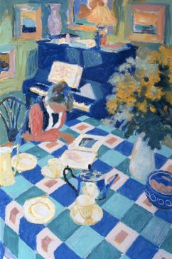 The Patterned Table Cloth (HG596) Oil on Canvas 36