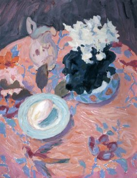 Still Life with Cyclamen and Goose Egg (HG614) Oil on Canvas 26