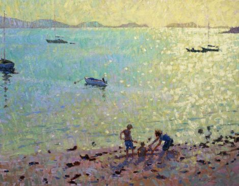 Children on the Beach, Morning Light (HG204) Oil on Canvas 28