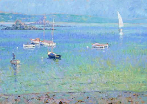 Looking Towards St Martins, Low Tide, Windless Afternoon (HG205) Oil on Canvas 26