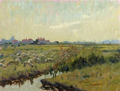 The Marshes at Southwold, March Afternoon (HG224) Oil on Canvas 14