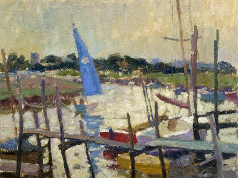 The Blue Sail, Morston Harbour (HG233) Oil on Board 11.5