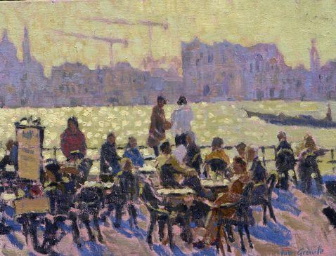 Lunch on the Zattere (HG239) Oil on Board 11.5