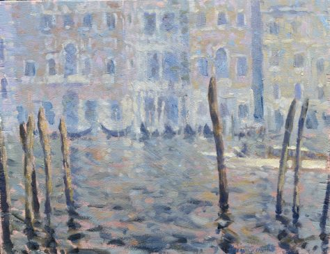 Study for Misty Morning, Grand Canal (HG237) Oil on Board 11.5