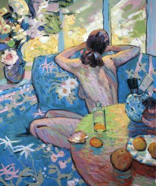 Studio Still Life with Resting Model, Lemons and Grapefruit (HG536) Oil on Canvas 36