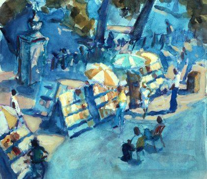 The Book Market, Plaza de Armas, Havana (HG545) Gouache on Paper 11.5