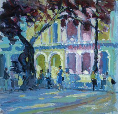 Morning on the Prado, Havana (HG547) Gouache on Paper 13.5