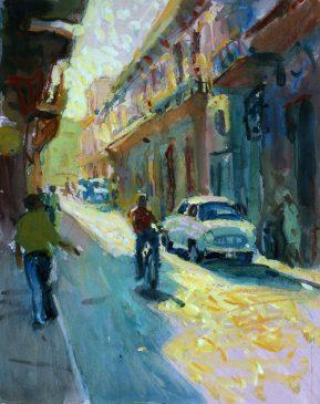 O'Reilly Street, Havana (HG549) Gouache on Paper 15.5