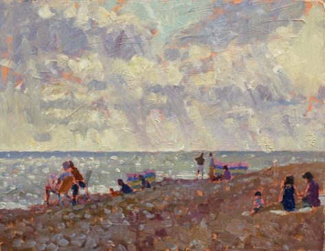 Afternoon on the Beach, Southwold (HG102) Oil on Board 11.5