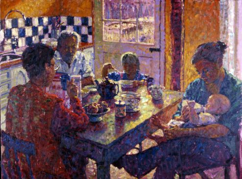 Breakfast at the Red Hour (HG110) Oil on Canvas 28