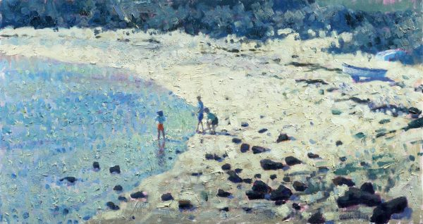 Children on the Beach, Tresco (HG116) Oil on Canvas 14