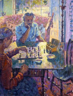 The Chess Players (HG127) Oil on Canvas 26