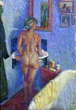 Girl at the Basin, Morning (HG127) Distemper and Pastel on Boad 36