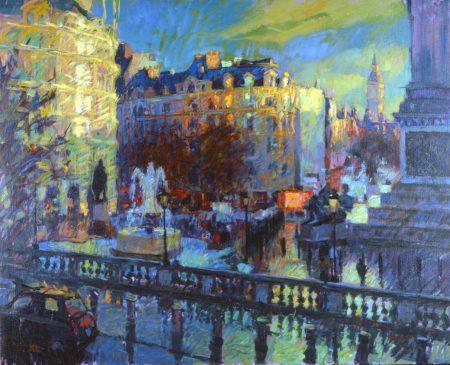 Trafalgar Square, January Evening (HG307) Oil on Canvas 32