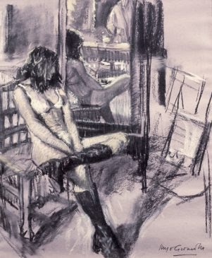Vanessa in the Studio (HG31) Charcoal and Chalk 22