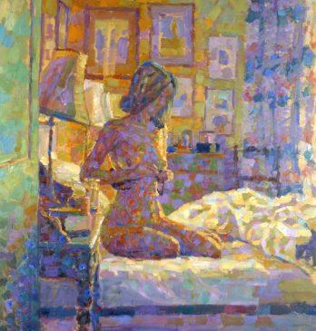 Bedroom Interior, Morning Light (HG313) Oil on Canvas 32