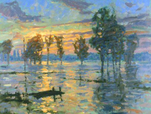 November Evening, Mendham Marshes in Flood (HG315) Oil on Canvas 28