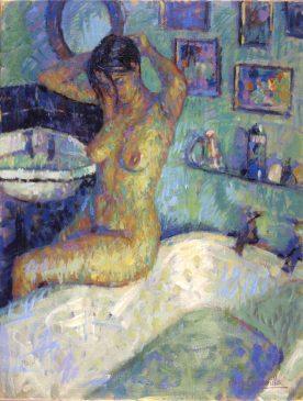 Nude Seated on the Bath (HG318) Oil on Canvas 26