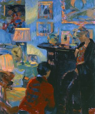 Interior by Lamplight (HG322) Oil on Canvas 24