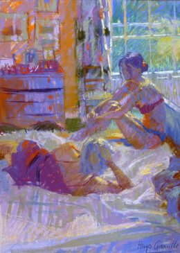 Study for a Bedroom Interior with Two Figures (HG334) Pastel on Board 26.5