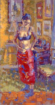 Study for the Red Sarong II (HG335) Distemper on Board 21