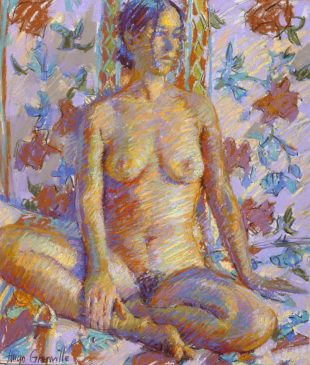 Seated Nude, French Chintz (HG340) Pastel on Board 22