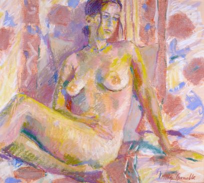 Study for Reclining Nude (HG341) Pastel on Paper 19.5