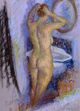 Figure Standing at the Basin (HG345) Pastel on Paper 26