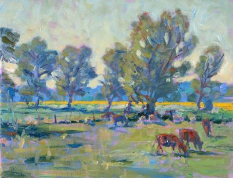 Mendham Marshes, May Afternoon (HG350) Oil on Canvas 14