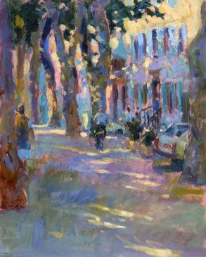 Outside the Boulangerie, Chalabre (HG357) Oil on Board 18