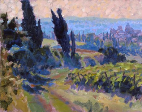 Late Afternoon in the Corbieres (HG358) Oil on Board 12