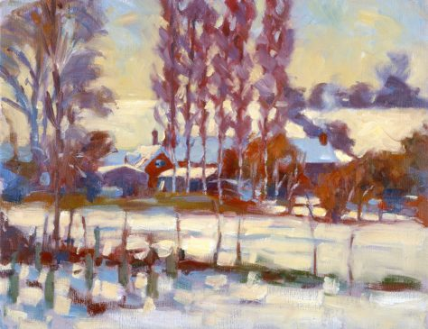 Withersdale Street in the Snow (HG363) Oil on Canvas  14