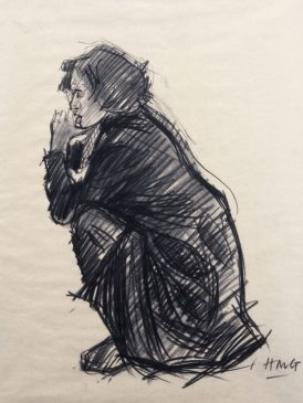 Crouching Figure (HG37) Charcoal 18.5