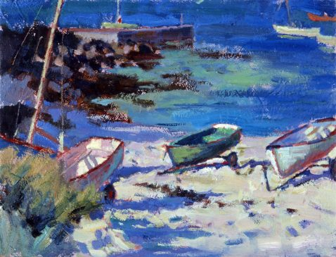 Boats at Green Porth, Evening (HG391) Oil on Board 12