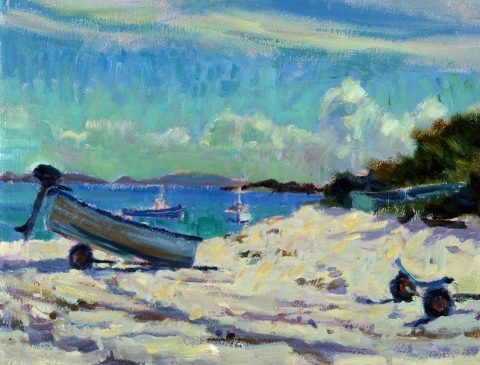 Beach at Bryher (HG392) Oil on Board 12