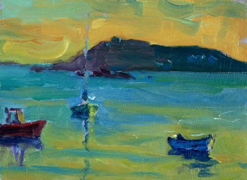 Still Evening, Towards Bryher (HG403) Oil on Board 6