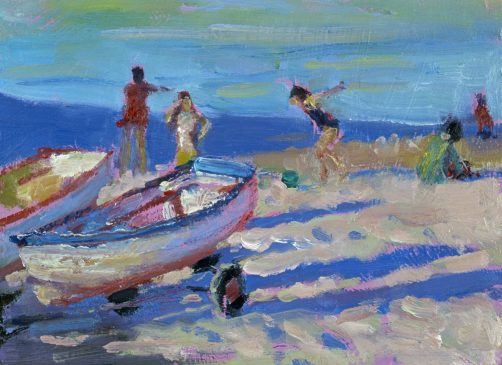 Children on the Beach, Evening (HG404) Oil on Board 6
