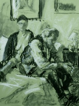 Figures on a Bed I (HG61) Charcoal on Tinted Paper 24