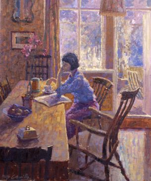 Summer Morning - Kitchen Interior (HG8) Oil on Canvas 20
