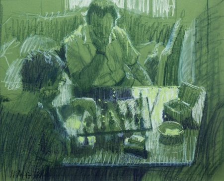 Study for the Chess Players (HG82) Charcoal on Green Paper 16