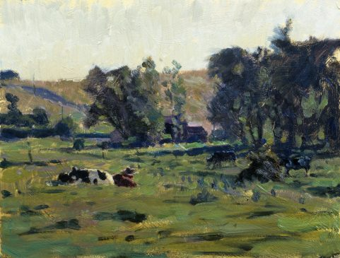 The Water Meadows, Mendham (HG97) Oil on Board 11.5