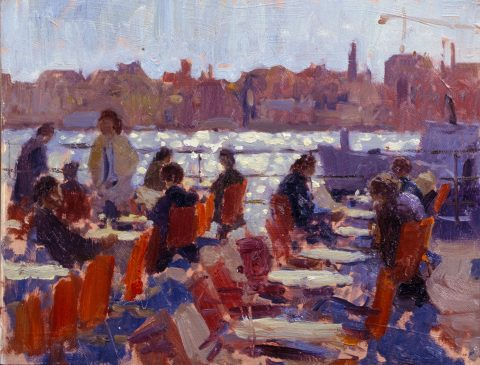 Study for Cafe on the Zattere (HG98) Oil on Board 11.5