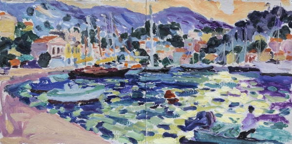 HG1262 Sea Cove with Boats 14 1/2