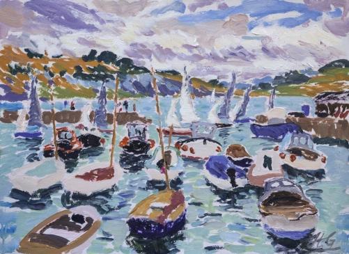 "HG1307 Sailing into Harbour, Lyme Regis  Oil on Paper 16"" x 22"""